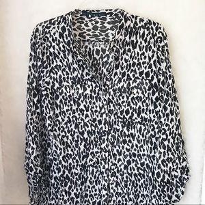 Zara Basic | Black/White Cheetah | Blouse |  XL